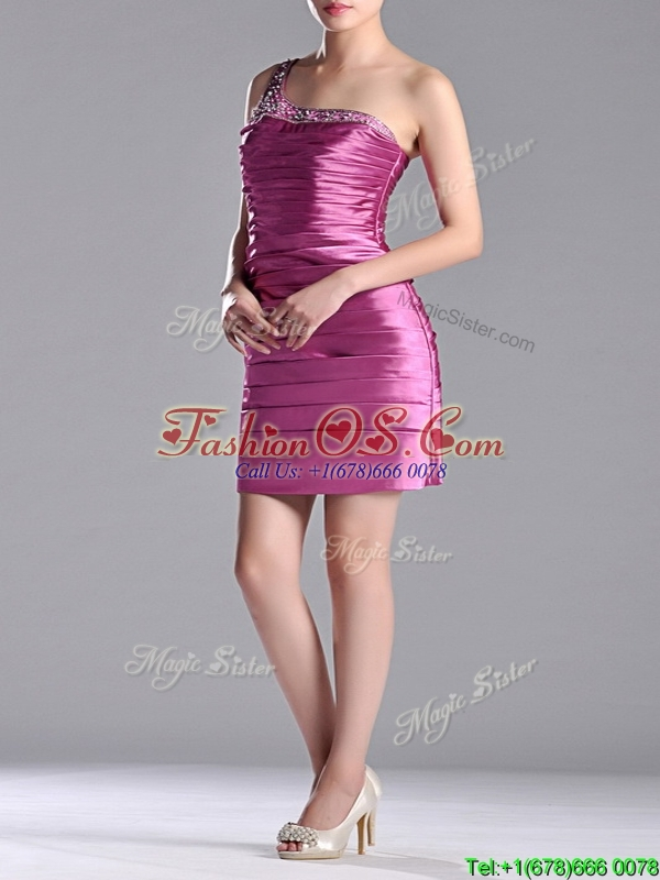 Popular Column Taffeta Bridesmaid  Dress Beaded Decorated One Shoulder