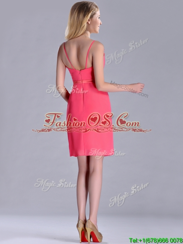 Popular V Neck Zipper Up Short Dama Dresses for Quinceanera in Coral Red