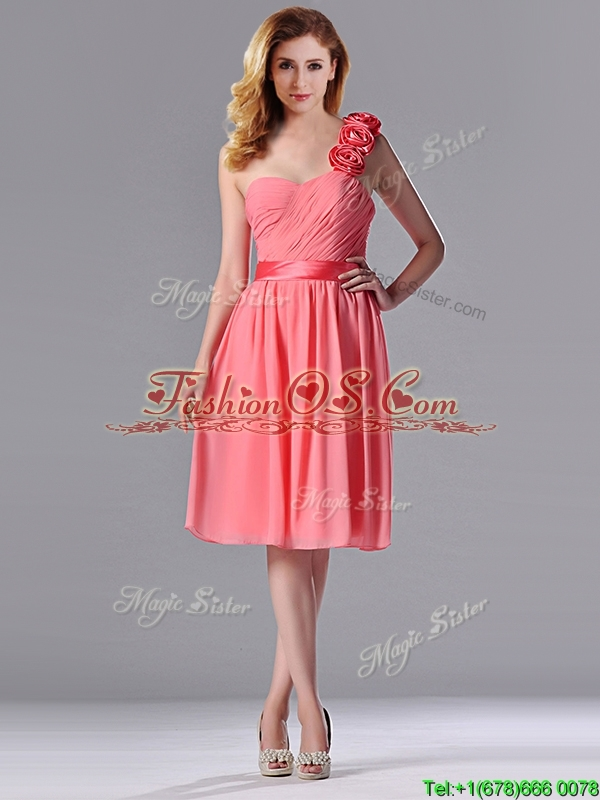 Popular Watermelon Dama Dresses for Quinceanera with Hand Made Flowers Decorated One Shoulder
