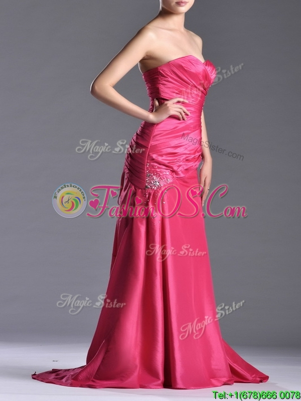 Pretty Beaded and Ruched Coral Red Column Prom Dress with Brush Train