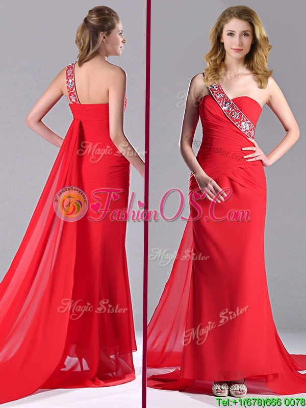 Pretty Column One Shoulder Watteau Train Chiffon Coral Red Prom Dress with Beaded