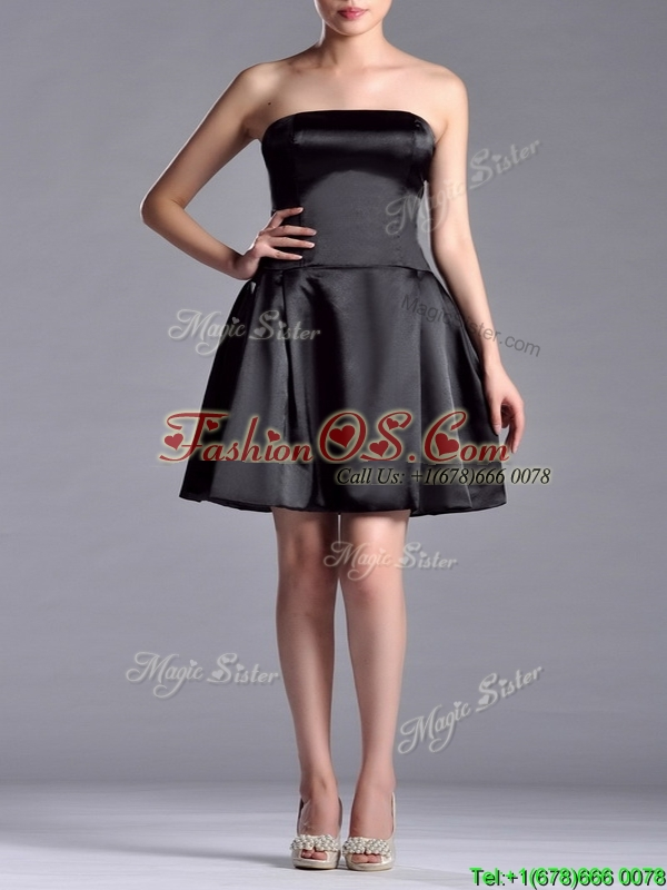 Romantic A Line Strapless White Be-ribboned Short Mother of the Bride Dress in Black
