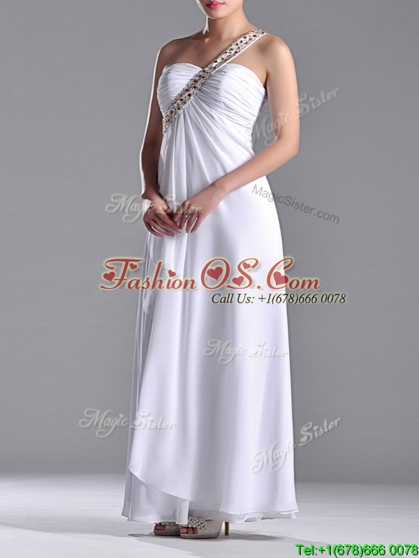 Sexy Empire Chiffon Beaded Side Zipper White Dama Dresses for Quinceanera with One Shoulder