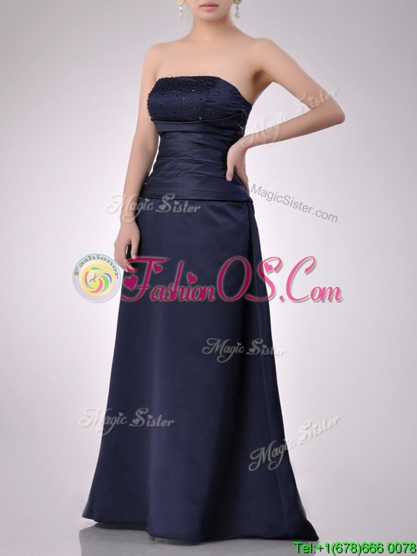 Fashionable Strapless Beaded Bust Long Mother of the Bride Dress in Navy Blue