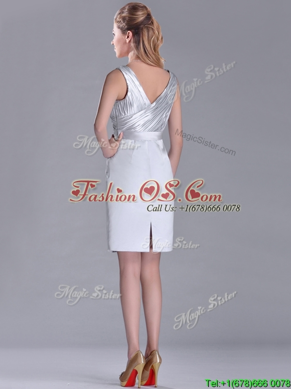 Modern V Neck Belted with Beading Mother of the Bride Dress in Silver