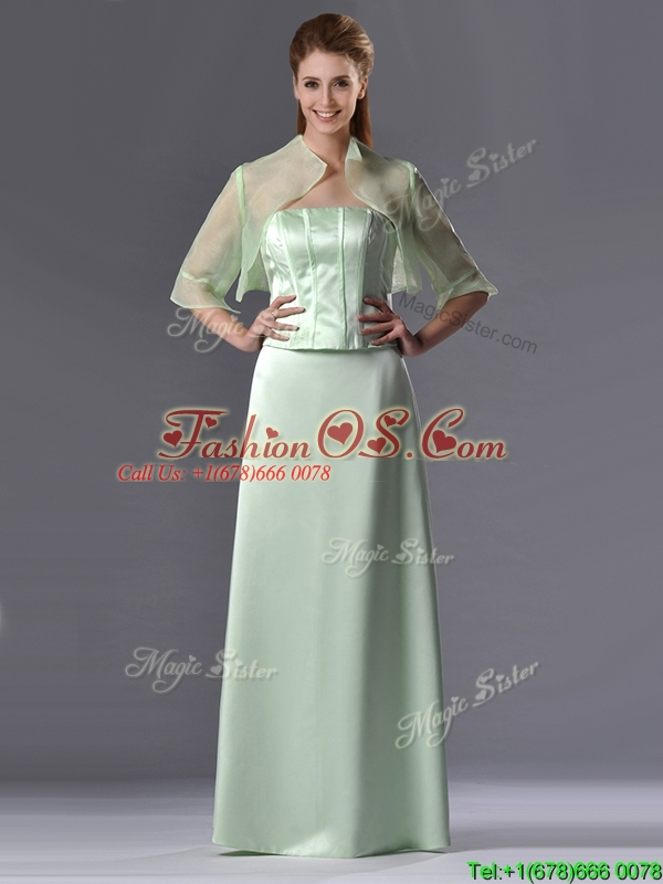 Discount Column Strapless Ruching Mother of the Bride Dress with Jacket