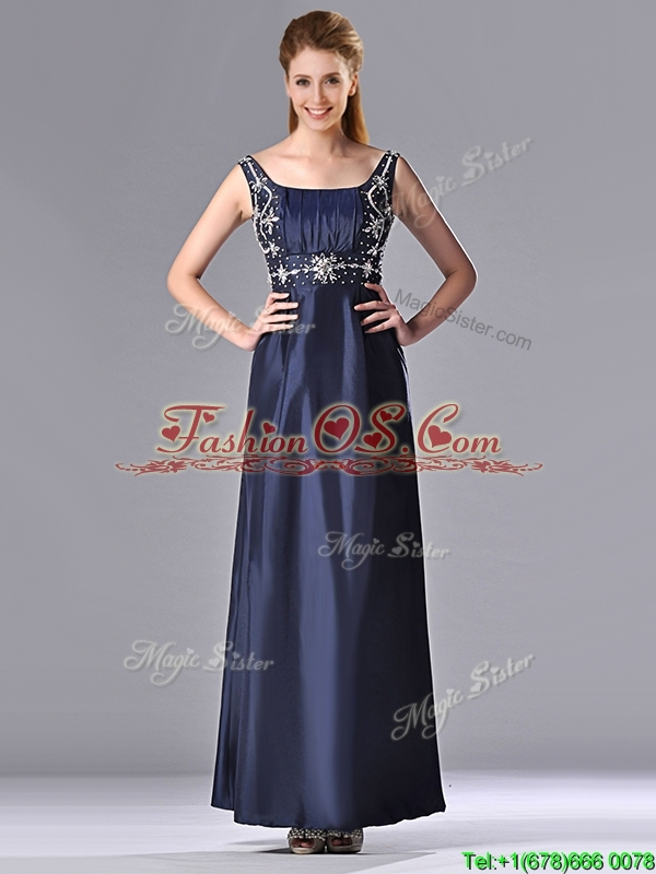 Simple Empire Square Taffeta Beading Long Mother of the Bride Dress in Navy Blue