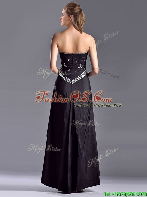 Discount Column Sweetheart Taffeta Black Mother of the Bride Dress with Beading