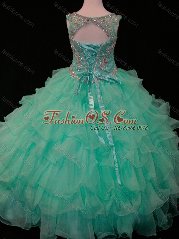 9bf446c6c4b New Arrivals Mint Scoop Mini Quinceanera Dress with Beading and Ruffled  Layers