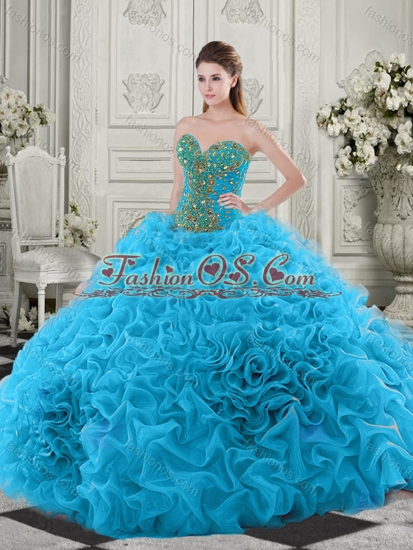 Discount Beaded and Ruffled Baby Blue Quinceanera Dress with Chapel Train