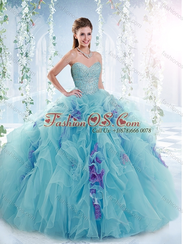 Discount Beaded Bodice and Ruffled Detachable Sweet 16 Dresses in Aquamarine