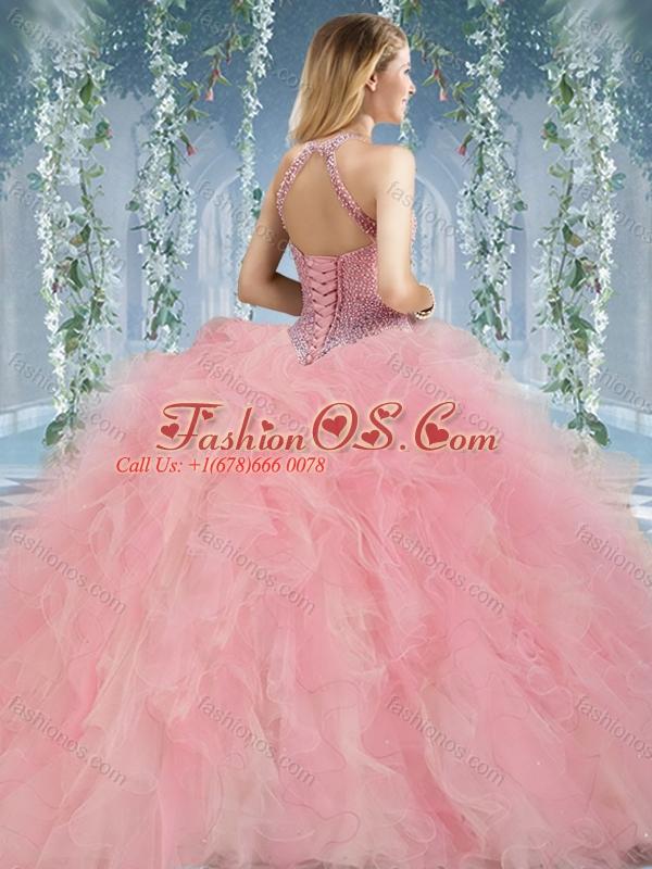 Discount Beaded Decorated Halter Top Rainbown Quinceanera Dress in Organza