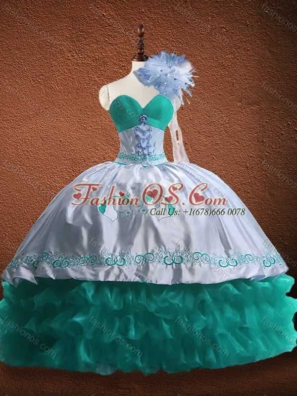 Elegant Embroidered and Patterned Organza and Taffeta Quinceanera Dress in Turquoise and White