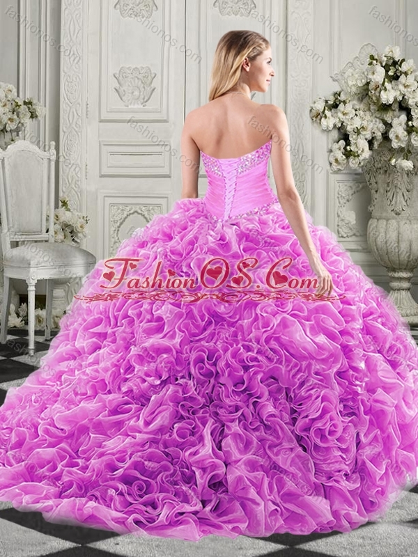 Exclusive Organza Champagne Sweet 16 Dress with Beading and Ruffles