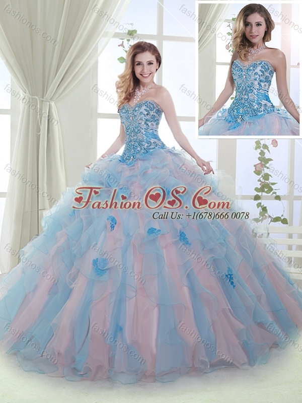 Luxurious Organza Beaded and Ruffled Quinceanera Gown in Baby Pink and Blue