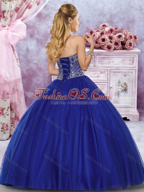 New Arrivals Tulle Royal Blue Sweet Fifteen Gown with Beaded Bodice