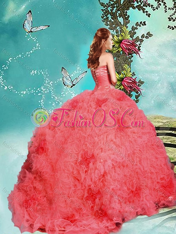 New Style Big Puffy Coral Red Quinceanera Dress with Beading and Ruffles