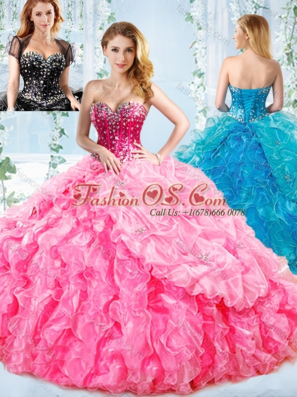 Visible Boning Big Puffy Detachable Quinceanera Dress with Ruffles and Beading