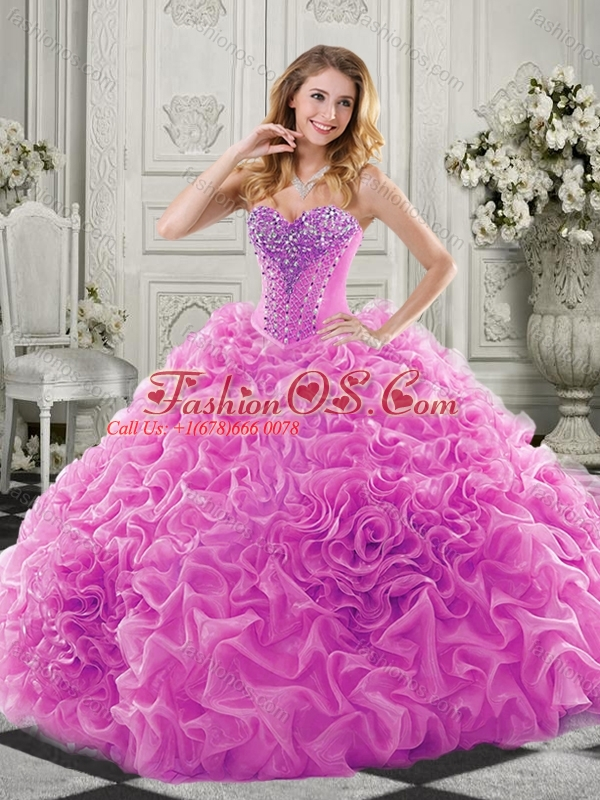 Wonderful Chapel Train Beaded and Ruffled 15 Quinceanera Dresses in Lavender