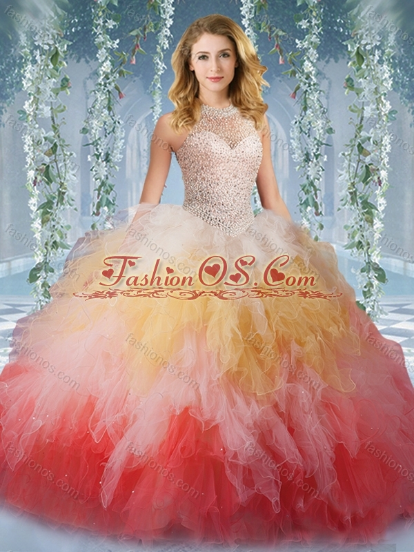 2016 Pretty Halter Top Rainbow Quinceanera Dresses with Beading and Ruffles