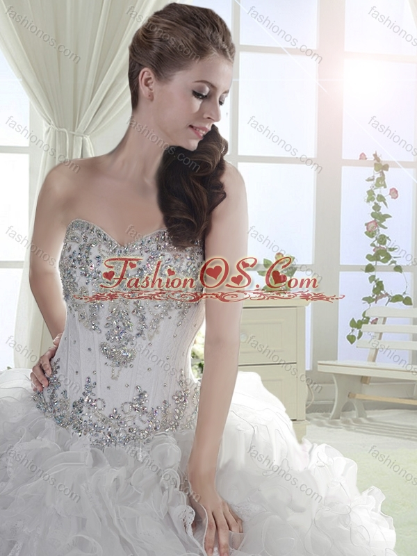 Beautiful Beaded and Ruffled Organza White Quinceanera Dress with Brush Train