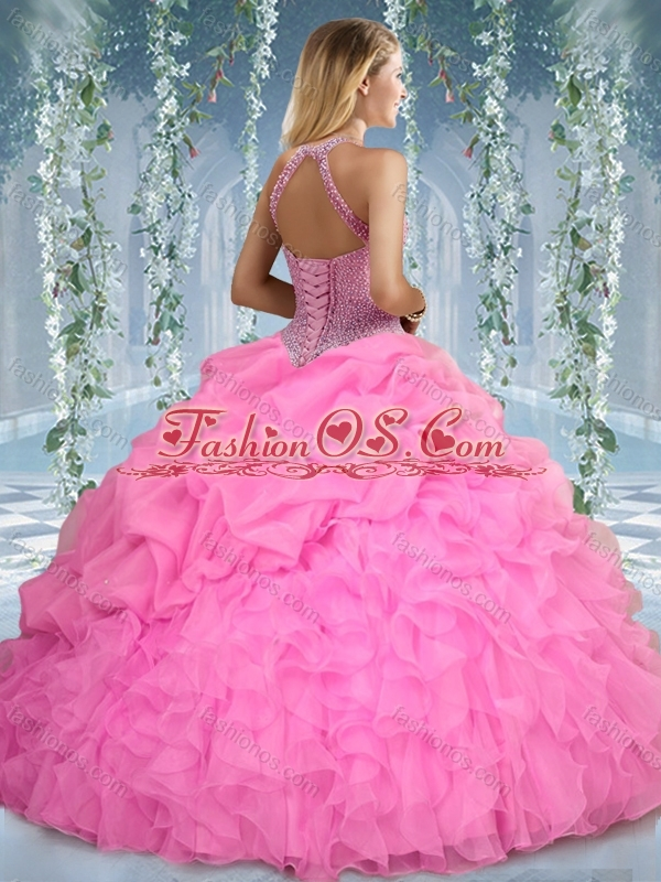 Beautiful Halter Top Beaded and Ruffled Sweet 16 Quinceanera Dress in Mint