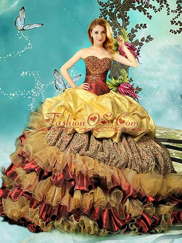 5b34113c4fa Best Bubble and Beaded Chapel Train 15 Quinceanera Dress in Wine Red and  Gold