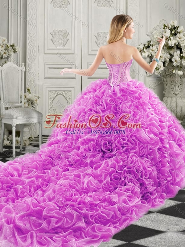 Best Really Puffy Chapel Train Perfect Quinceanera Dress with Ruffles and Colorful Beading