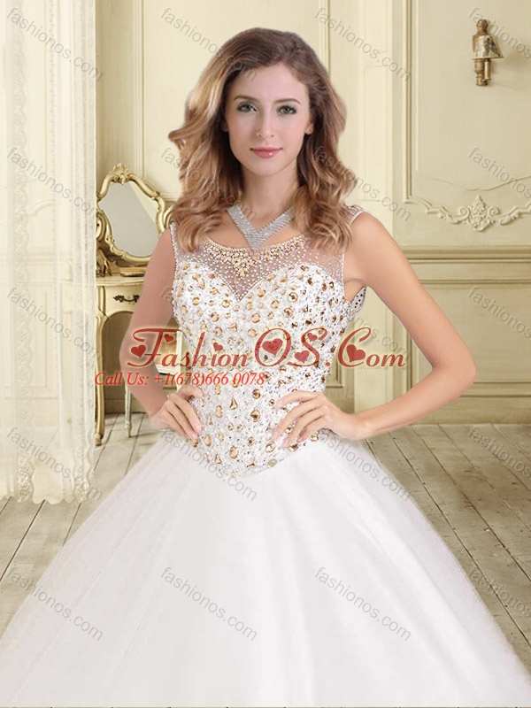 Cheap See Through Scoop White Sweet 16 Dress with Beaded Bodice