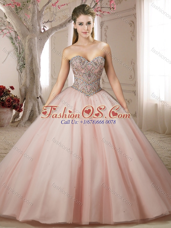 Classical Beaded Bodice Tulle Champagne Quinceanera Dress with Brush Train
