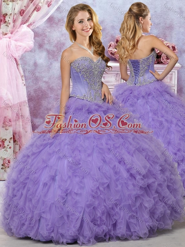 Classical Big Puffy Beaded and Ruffled Quinceanera Dress in Lavender