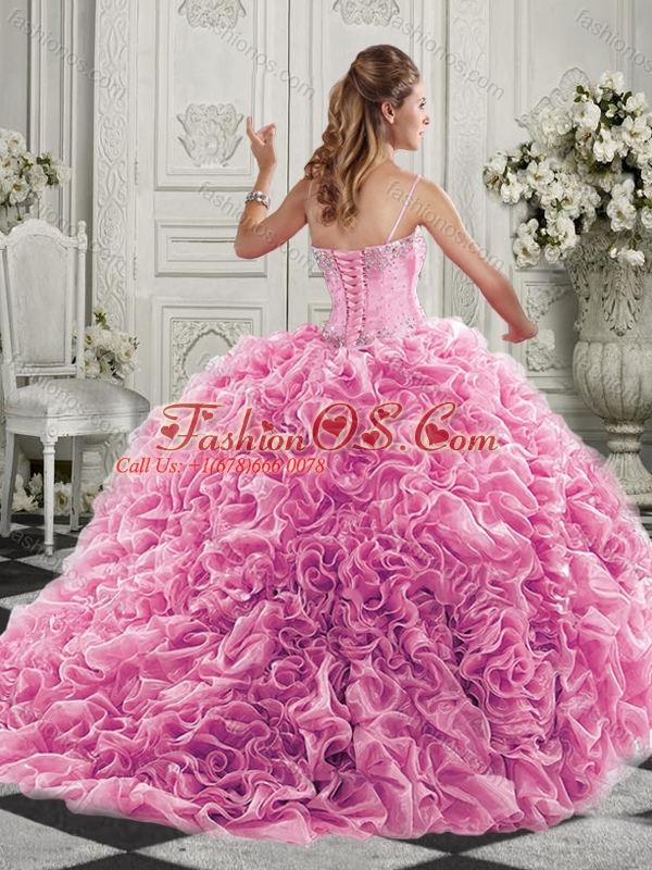 Classical Big Puffy Beaded and Ruffled Quinceanera Dresses in Organza