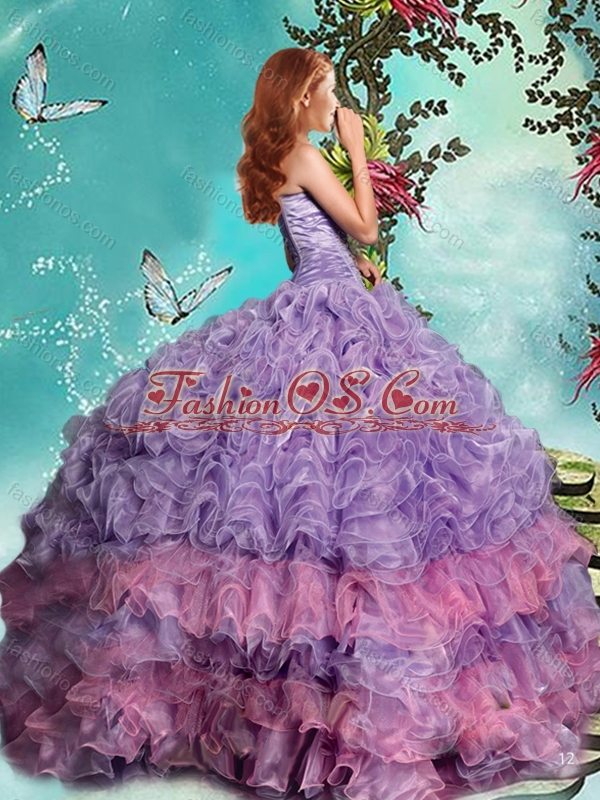 Classical Really Puffy Lavender Quinceanera Dress with Beading and Ruffles