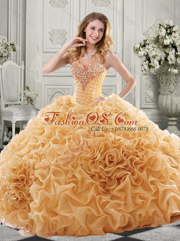 Discount Beaded Bodice and Ruffled Quinceanera Dress with Chapel Train