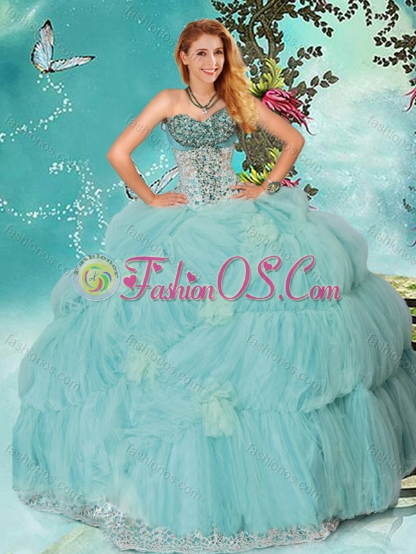 Discount Mint Sweetheart Quinceanera Gown with Beading and Handcrafted Flowers