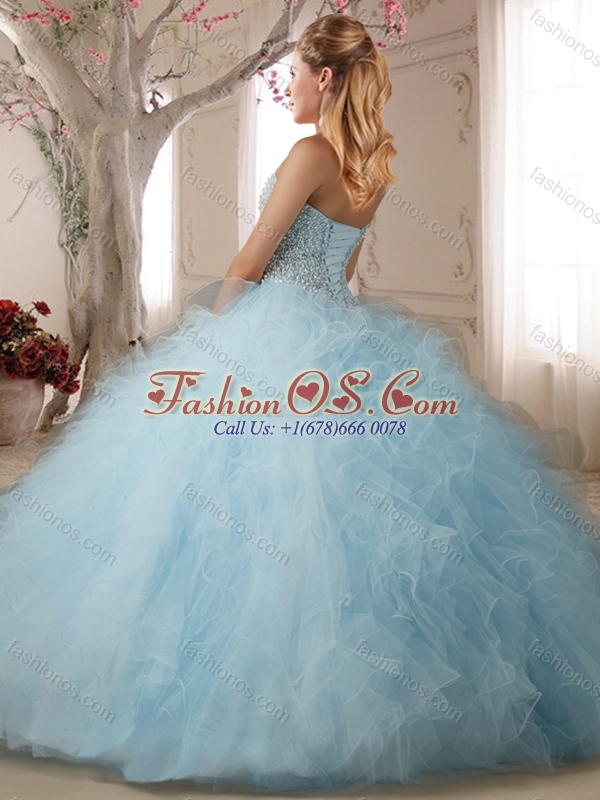 Discount Puffy Beaded and Ruffled Quinceanera Dress in Baby Pink ...