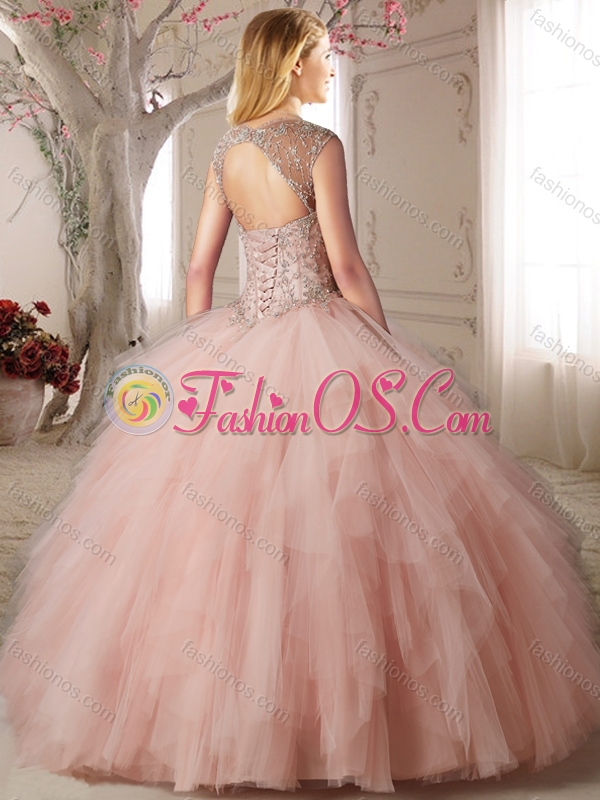 Discount Puffy Skirt Baby Pink Quinceanera Dress with Appliques and Ruffles