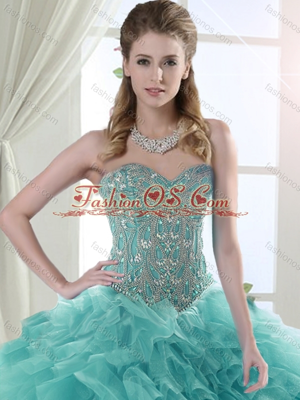 Discount Puffy Skirt Tulle Mint Quinceanera Dress with Beading and Ruffles