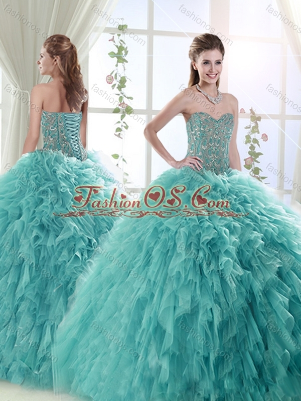 d8456375960 Discount Puffy Skirt Tulle Mint Quinceanera Dress with Beading and Ruffles
