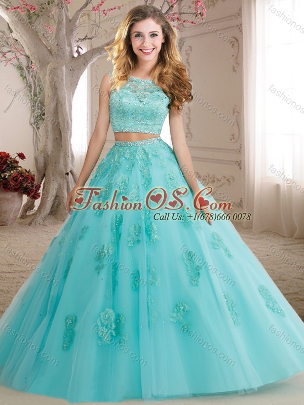 Discount Two Pieces See Through Scoop Beaded and Applique Quinceanera Gown in Aqua Blue