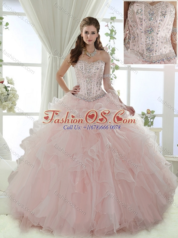 Discount Visible Boning Beaded Detachable Quinceanera Skirts in Baby Pink
