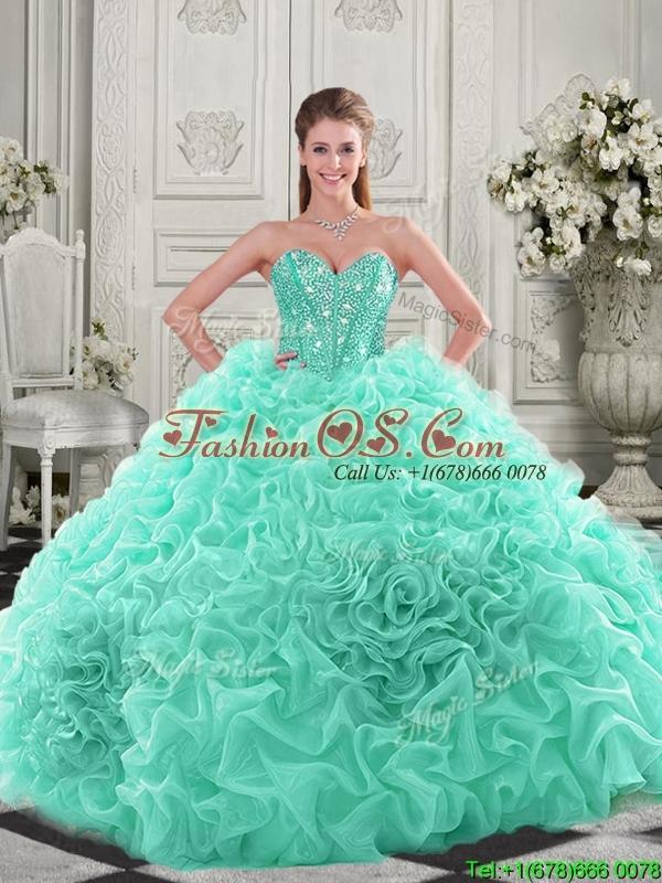 Elegant Visible Boning Organza Apple Green Quinceanera Dress with Chapel Train