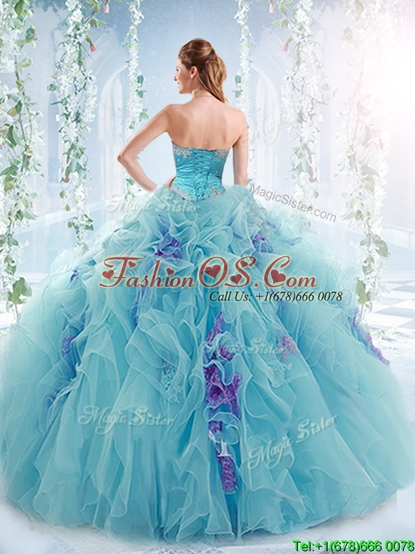 Exquisite Applique Bodice Aqua Blue Detachable Quinceanera Gowns in Organza