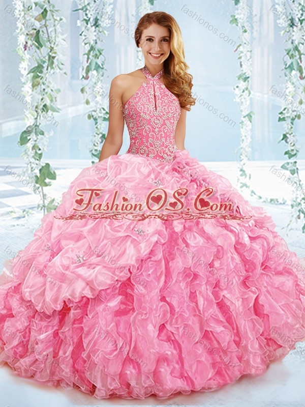 Exquisite Halter Top Beaded Bodice Detachable Quinceanera Dress in Rose Pink