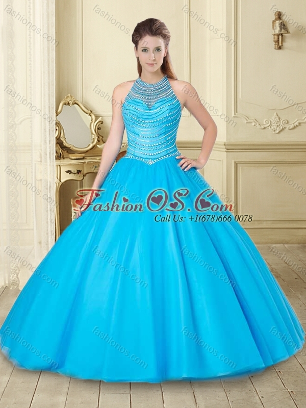 Exquisite See Through Halter Top Baby Blue Quinceanera Dress with Beading