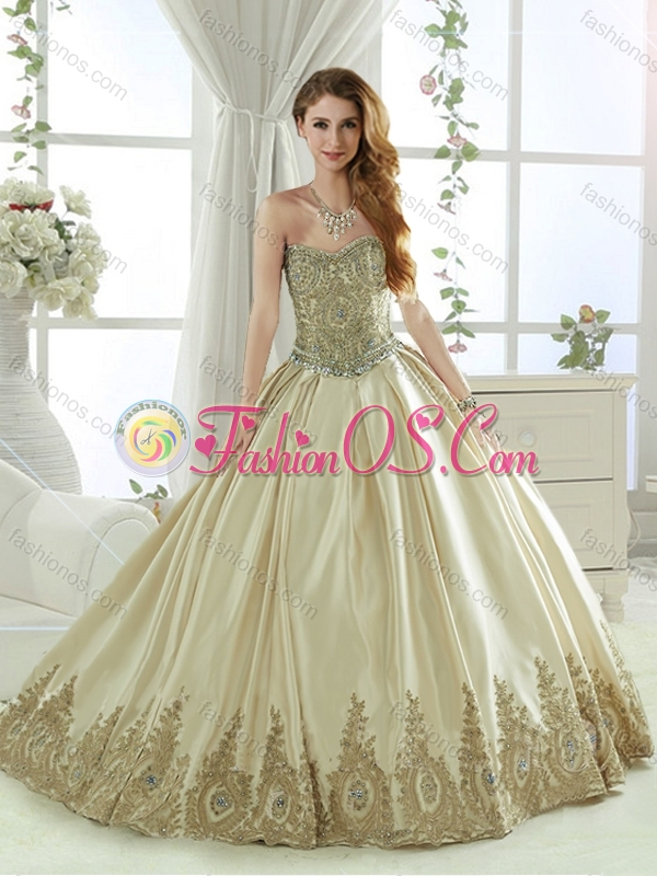 Exquisite Taffeta Beaded and Applique Champagne Detachable Quinceanera Skirts with Detachable Skirt
