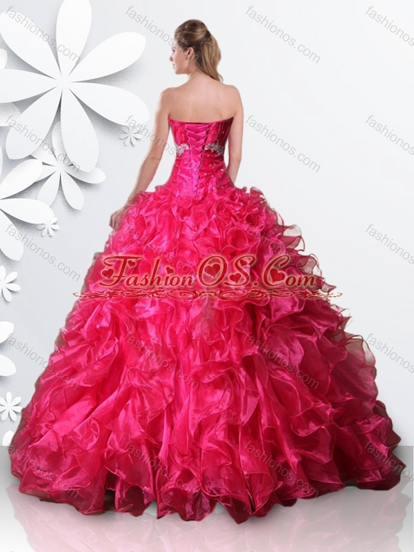 Fashionable Organze Hot Pink Quinceanera Dress with Beading and Ruffles