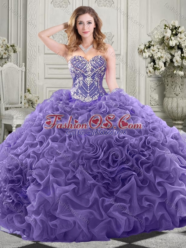 Gorgeous Beaded Bodice and Ruffled Perfect Quinceanera Dress with Chapel Train