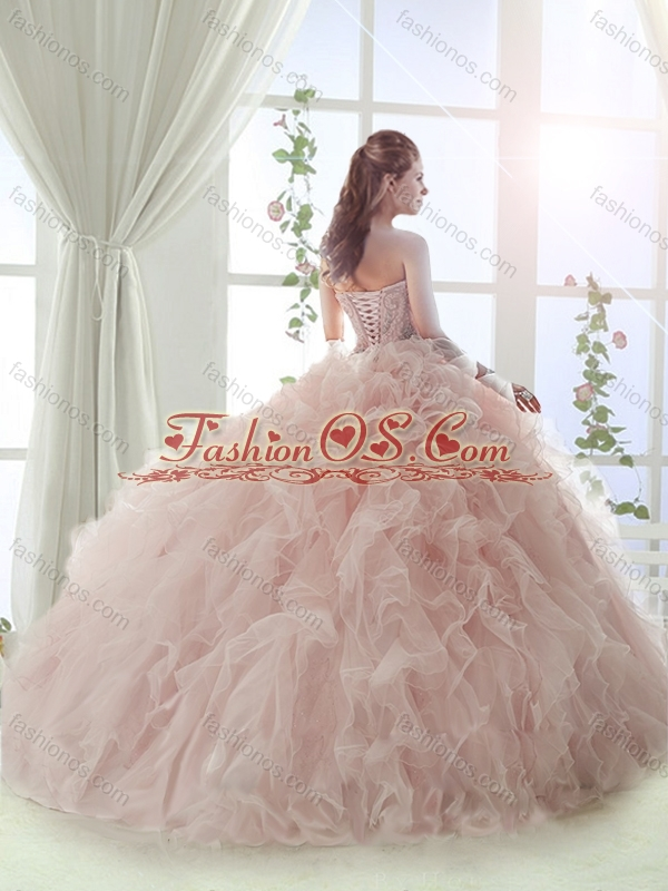 Gorgeous Sweep Train Baby Pink Detachable Quinceanera Skirts with Beading and Ruffles