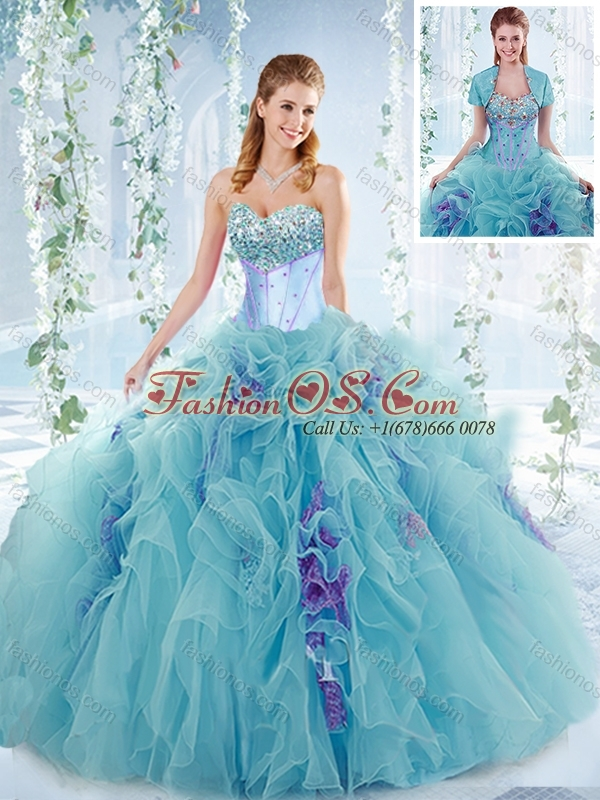 Latest Aquamarine Detachable Quinceanera Gowns with Beaded Bust and Ruffles